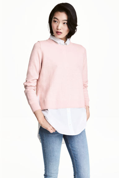 Jumper with a shirt collar