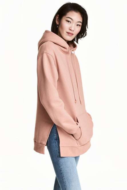 Hooded top with side slits