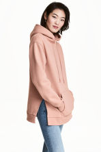 Hooded top with side slits - Powder beige -  | H&M 1