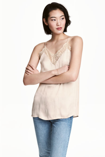 V-neck satin strappy top