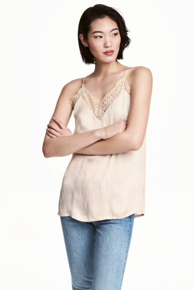 V-neck satin strappy top - Light beige - Ladies | H&M 1