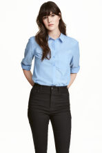 Cotton shirt - Light blue marl - Ladies | H&M CA 1