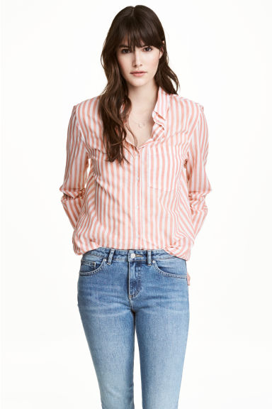 Cotton shirt - Powder pink/Striped - Ladies | H&M 1