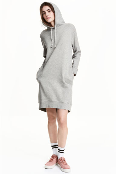 Hooded sweatshirt dress - Grey marl - Ladies | H&M CN