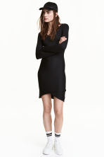 Ribbed jersey dress - Black - Ladies | H&M CA 1