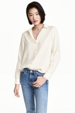 Long-sleeved blouse - Natural white -  | H&M 1