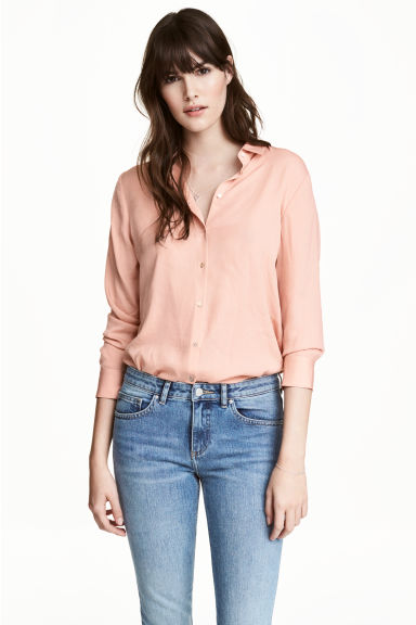 Long-sleeved blouse - Powder - Ladies | H&M CN 1