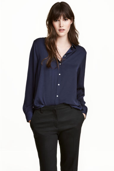 Long-sleeved blouse - Dark blue -  | H&M