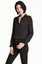 Long-sleeved blouse - Dark grey - Ladies | H&M 1