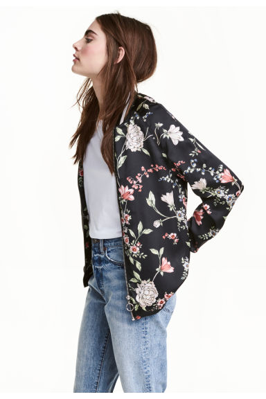 緞面外套 - Black/Floral - Ladies | H&M