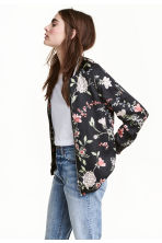Satin jacket - Black/Floral - Ladies | H&M 1