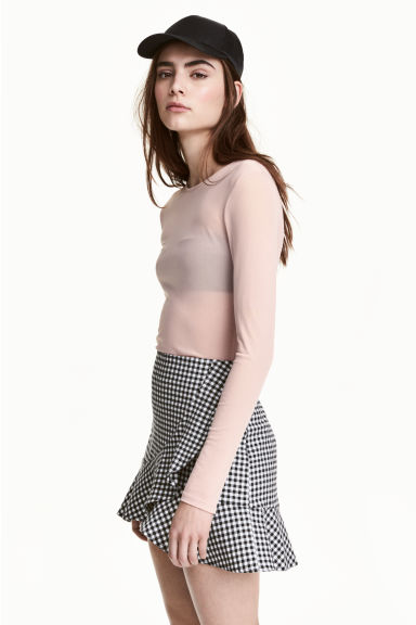 Long-sleeved mesh top - Light old rose - Ladies | H&M
