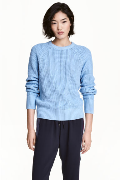 Stocking-stitched jumper - Light blue - Ladies | H&M 1