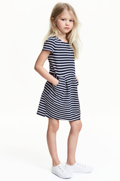 Short-sleeved jersey dress - Dark blue/Striped -  | H&M CA 1