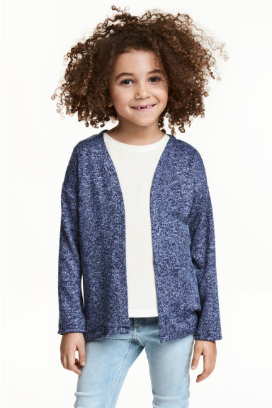 Fine-knit cardigan - Dark blue marl -  | H&M 1