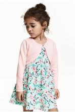 Fine-knit bolero cardigan - Light pink - Kids | H&M 1