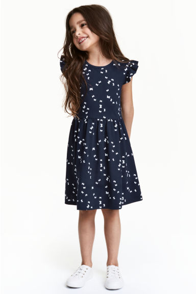 Jersey dress - Dark blue/Butterflies -  | H&M CN