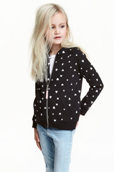 Bomber jacket - Black/Heart - Kids | H&M CN 1