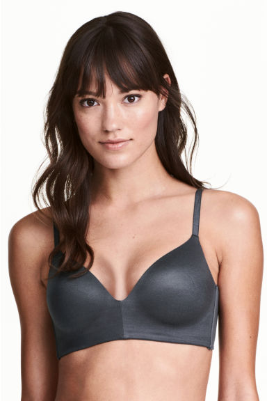Non-wired T-shirt bra - Dark grey - Ladies | H&M 1