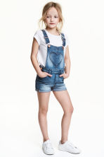 Denim dungaree shorts - Denim blue -  | H&M 1