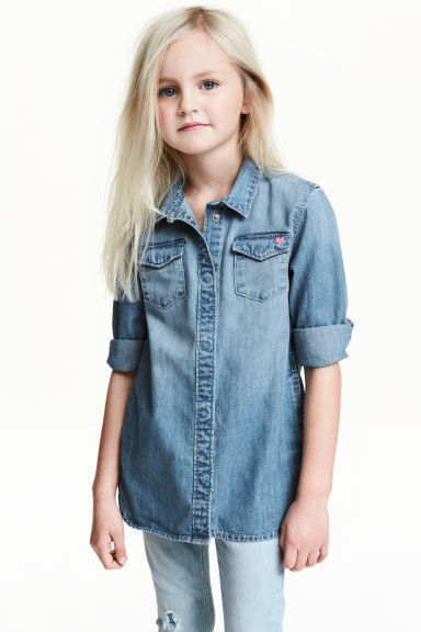Lange denim overhemdblouse