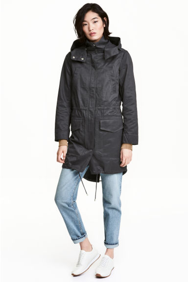 Hooded parka - Black -  | H&M CN