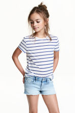 短袖平紋上衣 - White/Blue striped - Kids | H&M 1