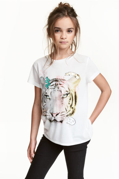 Short-sleeved jersey top - White/Tiger - Kids | H&M