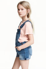 Short-sleeved jersey top - Powder pink/Glittery - Kids | H&M CN 1