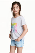 Printed top - Light grey marl/MTV - Kids | H&M 1