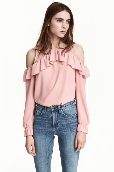 Cold shoulder blouse - Old rose - Ladies | H&M 1