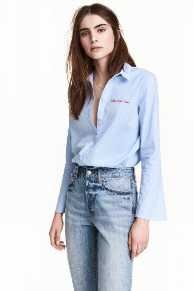 Camicetta con maniche svasate - Blu/righine - DONNA | H&M IT 1