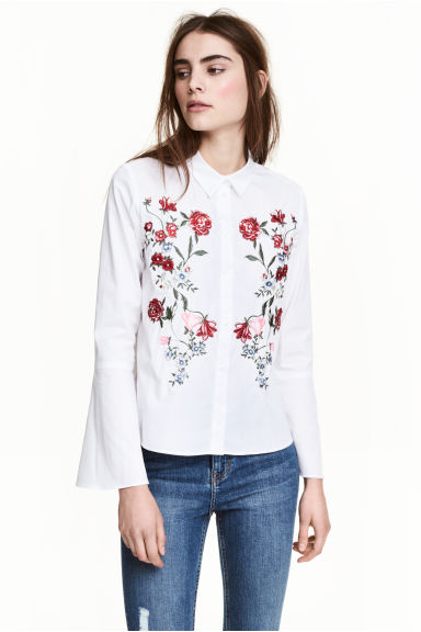 Shirt with flared sleeves - White/Embroidered - Ladies | H&M GB