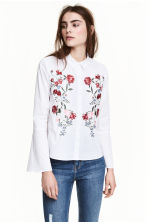 Shirt with flared sleeves - White/Embroidered - Ladies | H&M GB 1