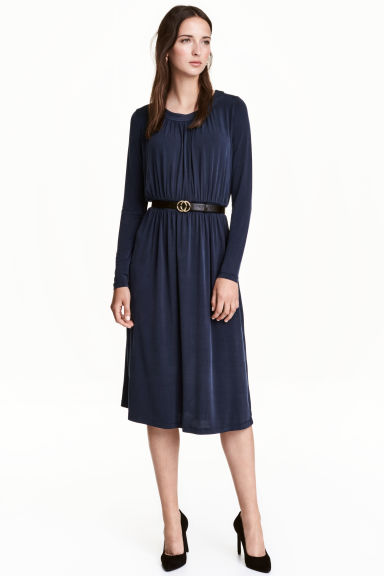 Gathered jersey dress - Dark blue - Ladies | H&M CN 1