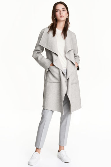 Wool-blend coat - Light grey - Ladies | H&M CN 1