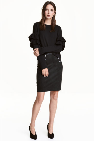 Button-detail skirt - Black - Ladies | H&M 1