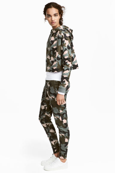 Joggers - Khaki green/Patterned - Ladies | H&M 1