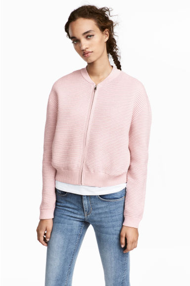 Glittery cardigan - Light pink - Ladies | H&M CN 1