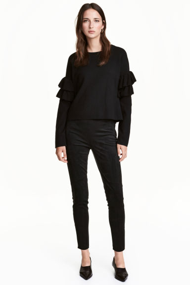 Imitation suede trousers - Black -  | H&M CN