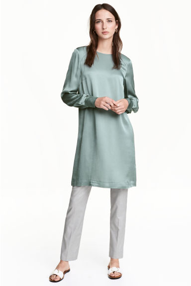 Long-sleeved dress - Dusky green - Ladies | H&M CN 1