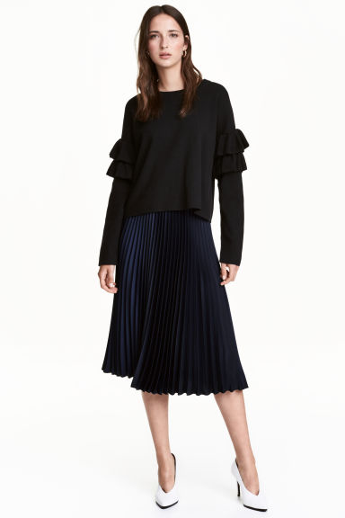 Pleated skirt - Dark blue -  | H&M CA