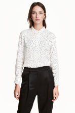 Long-sleeved blouse - White/Spotted - Ladies | H&M CN 1