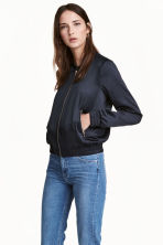 Satin bomber jacket - Dark blue - Ladies | H&M 1