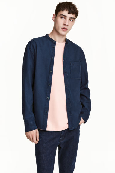 Camicia coreana Regular fit - Blu denim scuro - UOMO | H&M IT 1