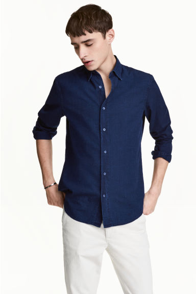 Shirt Regular fit - Dark denim blue - Men | H&M 1