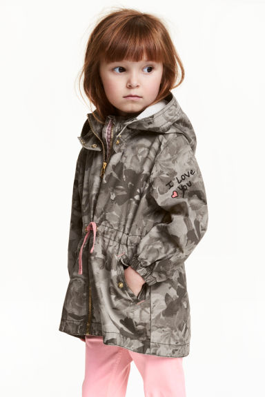 Cotton parka - Khaki green/Patterned - Kids | H&M