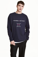 Wide sweatshirt - Dark blue - Men | H&M 1