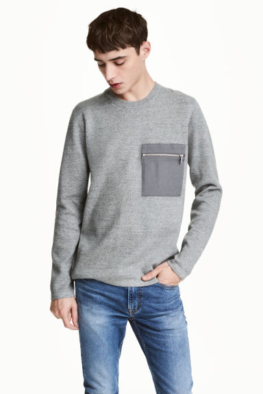 Fine-knit cotton jumper - Grey marl - Men | H&M CN 1