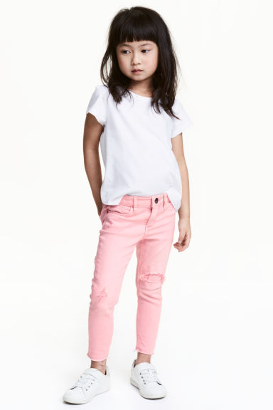 Skinny Fit Worn Jeans - Washed-out pink - Kids | H&M 1